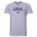 USA 2014 FIFA World Cup Brazil(TM) Men's Palm V-Neck T-Shirt (Grey)