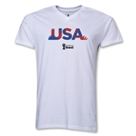 USA 2014 FIFA World Cup Brazil(TM) Men's Palm V-Neck T-Shirt (White)