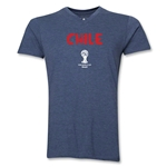 Chile 2014 FIFA World Cup Brazil(TM) Men's Core V-Neck T-Shirt (Heather Navy)