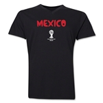 Mexico 2014 FIFA World Cup Brazil(TM) Men's Core V-Neck Core T-Shirt (Black)