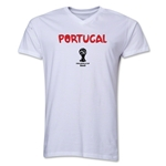 Portugal 2014 FIFA World Cup Brazil(TM) Men's Core V-Neck Core T-Shirt (White)