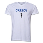 Greece 2014 FIFA World Cup Brazil(TM) Men's Core V-Neck Core T-Shirt (White)