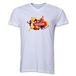 Belgium 2014 FIFA World Cup Brazil(TM) Men's V-Neck Celebration T-Shirt (White)