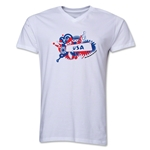 USA 2014 FIFA World Cup Brazil(TM) Men's V-Neck Celebration T-Shirt (White)