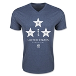 USA Women's World Cup Champions V-Neck T-Shirt (Heather Navy)