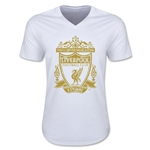 Liverpool Distressed Crest V-Neck T-Shirt (White)