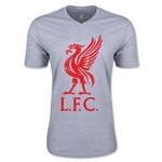 Liverpool Distressed Liver Bird V-Neck T-Shirt (Gray)