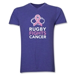Rugby Fights Cancer Men's V-Neck T-Shirt (Heathered Purple)