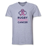 Rugby Fights Cancer Men's V-Neck T-Shirt (Gray)