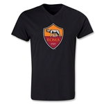 AS Roma Crest V-Neck T-Shirt (Black)