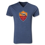 AS Roma Crest V-Neck T-Shirt (Heather Navy)