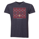 FC Santa Claus Christmas Sweater Men's V-Neck T-Shirt (Dark Grey)
