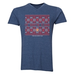FC Santa Claus Christmas Sweater Men's V-Neck T-Shirt (Heather Navy)