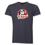 FC Santa Claus Animated Santa Men's V-Neck T-Shirt (Dark Grey)