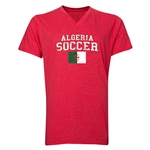 Algeria Soccer V-Neck T-Shirt (Heather Red)