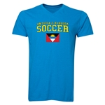 Antigua & Barbuda Soccer V-Neck T-Shirt (Heather Turquoise)
