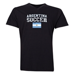 Argentina Soccer V-Neck T-Shirt (Black)