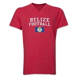 Belize Football V-Neck T-Shirt (Heather Red)