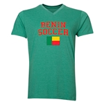 Benin Soccer V-Neck T-Shirt (Heather Green)
