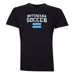 Botswana Soccer V-Neck T-Shirt (Black)