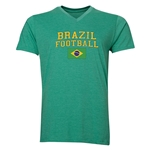 Brazil Football V-Neck T-Shirt (Heather Green)