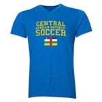 Central African Republic Soccer V-Neck T-Shirt (Heather Royal)