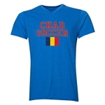 Chad Soccer V-Neck T-Shirt (Heather Royal)