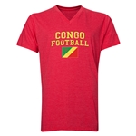 Congo Football V-Neck T-Shirt (Heather Red)