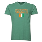 Cote d'Ivoire Soccer V-Neck T-Shirt (Heather Green)
