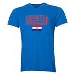 Croatia Soccer V-Neck T-Shirt (Heather Royal)