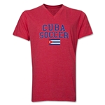 Cuba Soccer V-Neck T-Shirt (Heather Red)