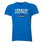 Curacao Football V-Neck T-Shirt (Heather Royal)
