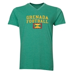 Grenada Football V-Neck T-Shirt (Heather Green)