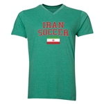 Iran Soccer V-Neck T-Shirt (Heather Green)