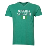 Nigeria Soccer V-Neck T-Shirt (Heather Green)