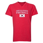 South Korea Football V-Neck T-Shirt (Heather Red)