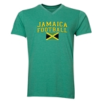 Jamaica Football V-Neck T-Shirt (Heather Green)