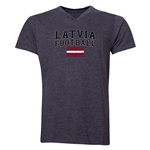 Latvia Football V-Neck T-Shirt (Grey)