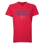 Norway Soccer V-Neck T-Shirt (Heather Red)