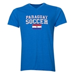 Paraguay Soccer V-Neck T-Shirt (Heather Royal)