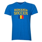 Romania Soccer V-Neck T-Shirt (Heather Royal)
