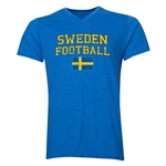Sweden Football V-Neck T-Shirt (Heather Royal)
