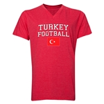 Turkey Football V-Neck T-Shirt (Heather Red)