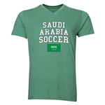Saudi Arabia Soccer V-Neck T-Shirt (Heather Green)