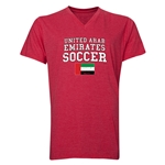 United Arab Emirates Soccer V-Neck T-Shirt (Heather Red)