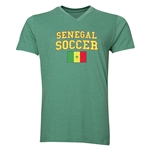 Senegal Soccer V-Neck T-Shirt (Heather Green)