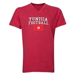 Tunisia Football V-Neck T-Shirt (Heather Red)