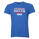 Luxembourg Soccer V-Neck T-Shirt (Heather Royal)