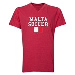 Malta Soccer V-Neck T-Shirt (Heather Red)