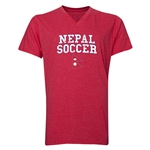 Nepal Soccer V-Neck T-Shirt (Heather Red)